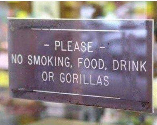 #no #smoking #food #drink or #gorillas #signs #habal #هبل #habaldotcom